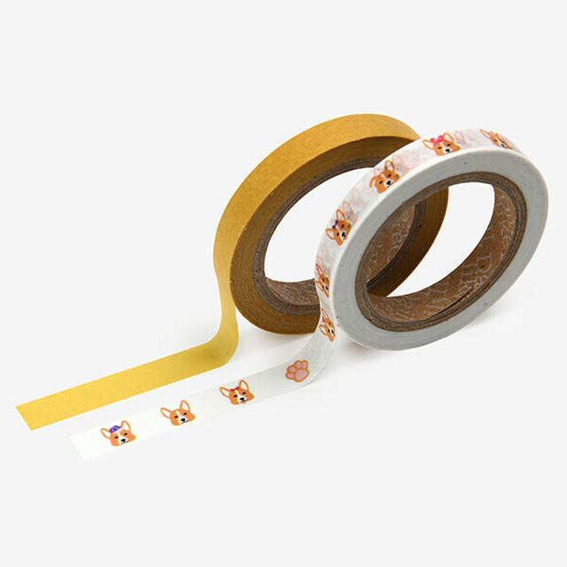 【ウェルシュコーギー】マスキングテープ(slim 2p - 19 Welsh corgi)【マステ 犬柄】