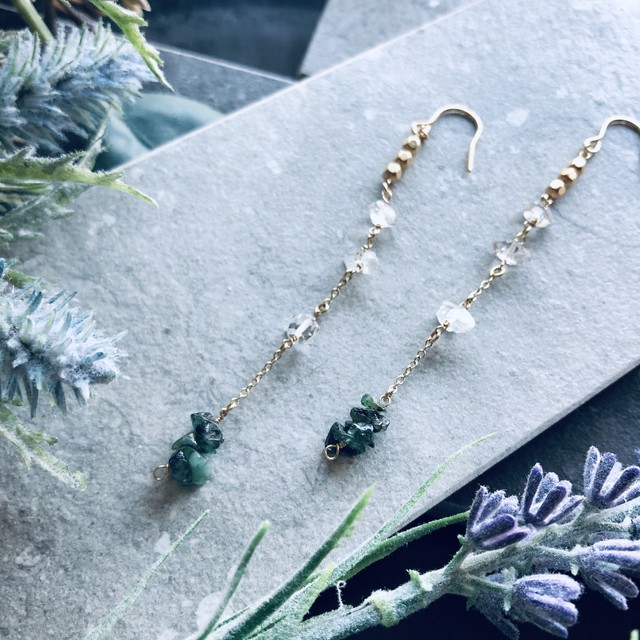 【1点もの】Turquoise& herkimer diamond pierce earring