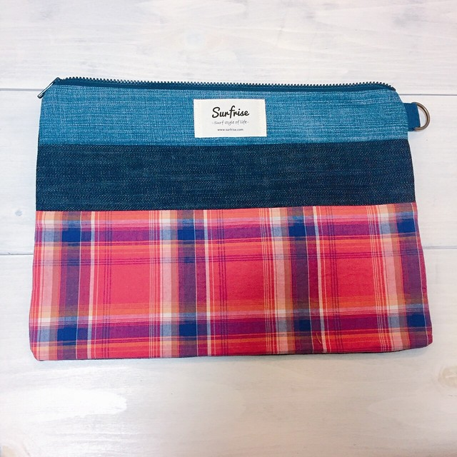 Denim clutch bag Check9(Red)