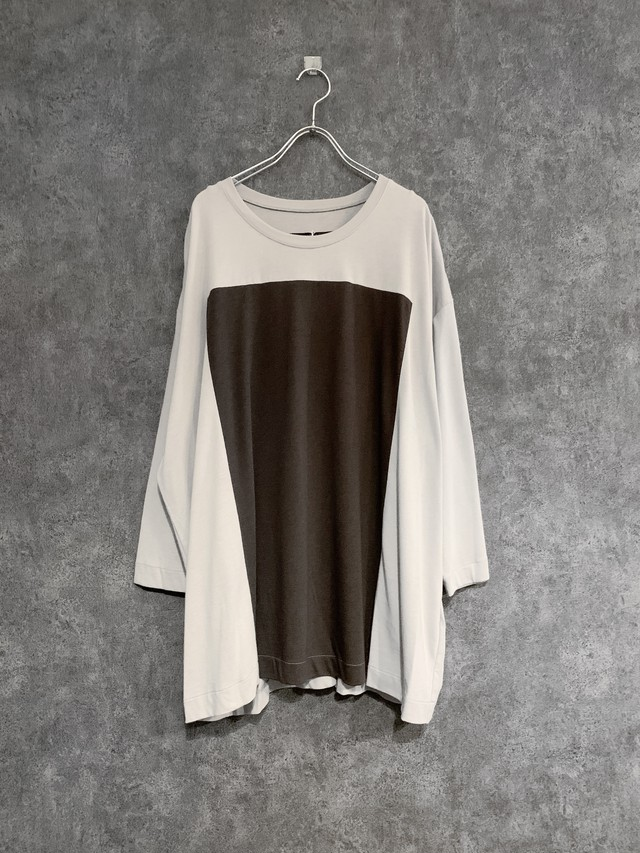 【 Special price 30%OFF】my beautiful landlet lyocell cotton square 3/4 wide tee beige×brown