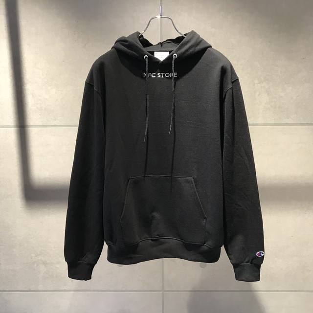 MFC STORE SMALL EMBROIDERY AP HOODED SWEAT SHIRT / BLACK x WHITE