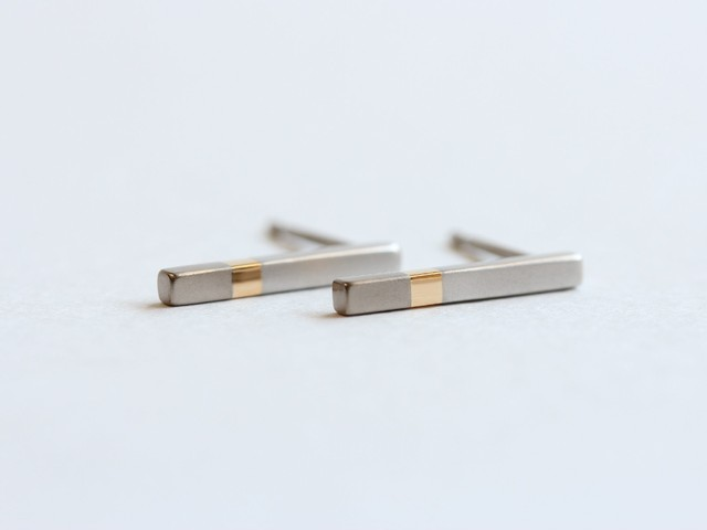 Pt900×K18YG×K18WG/ratio3 stick pierced earrings