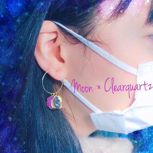 Moon × Clear quartz earings(1side)