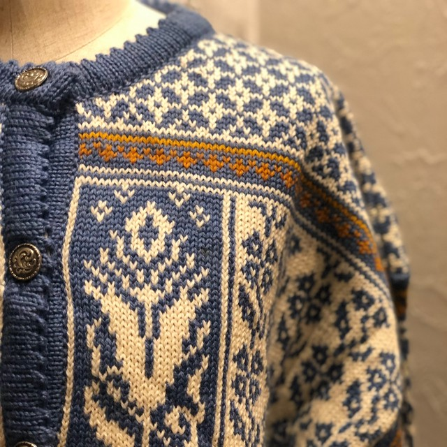Blue jacquard knit cardigan