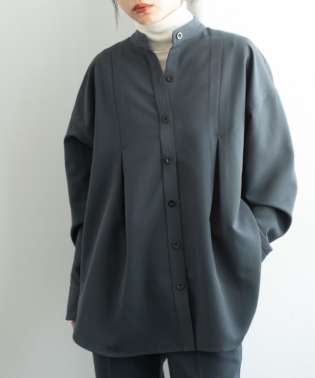 タックバンドカラーシャツジャケット/CGRY