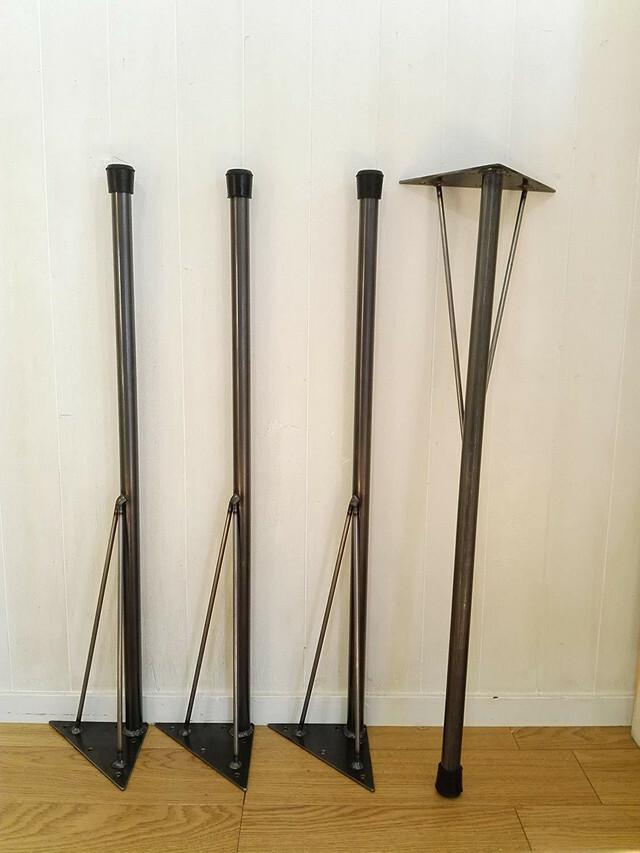アイアンレッグ サイズ変更対応(73~89cm)DIY素材 垂直タイプテーブル脚 4本セット