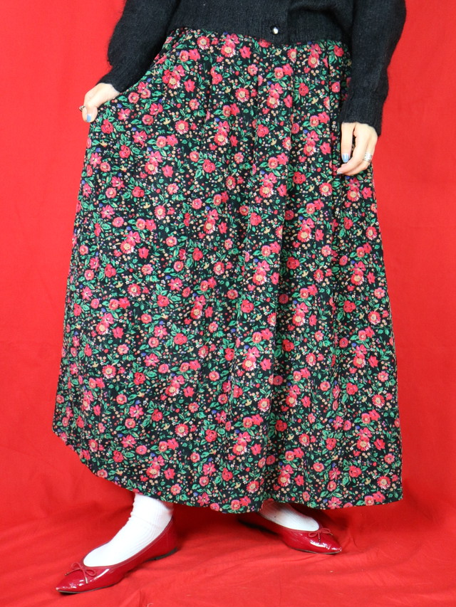 flower patter corduroy long skirt 【0593】