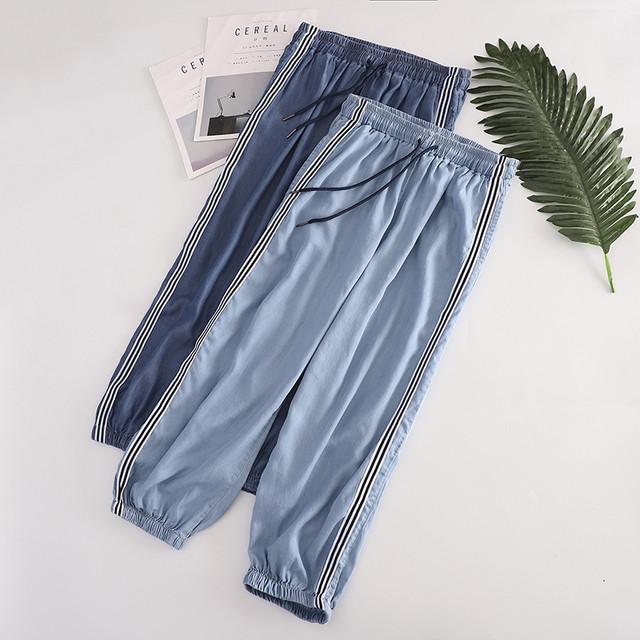 デニムパンツ ズボン アンクルパンツ レディースファション 着痩せ 合わせやすい M L ライトブルー ダークブルー テンセル生地