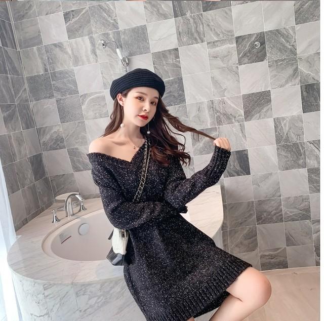 【韓国レディースファッション】  5910 Vネック ニット ミニ丈 ワンピース カジュアル 送料無料