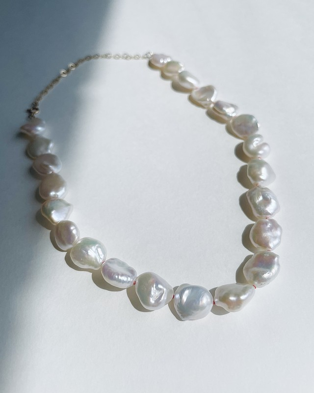 K10YG Baroque Pearl Necklace with Coral Pink Thread / 32cm - 41cm