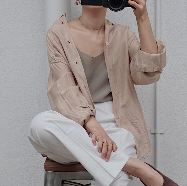 peach colour shirt