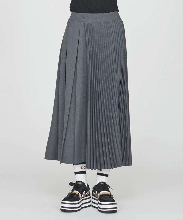 【予約】アシンメトリープリーツスカート(グレー)