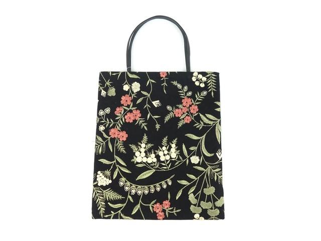 ブラックリバティ刺繍トートバッグ(A4サイズ)