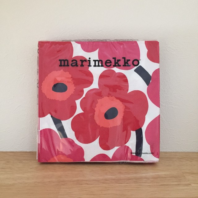 【marimekko】ランチサイズ ペーパーナプキン UNIKKO ホワイト×レッド