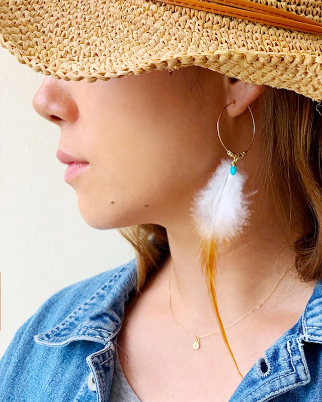turquoise with fether pierced earrings / on the beach