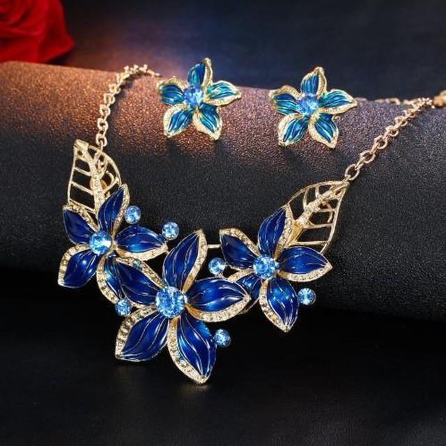 Iparam ジュエリーセット ネックレス イヤリング 女性 パーティー オイルドロップ 花 ロマンチック 美しい SKU-IPA-1715-blue
