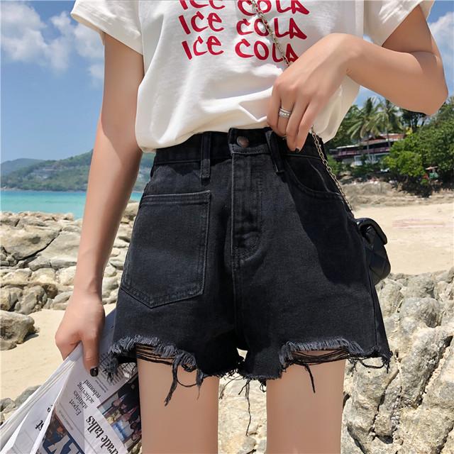 【ボトムス】通販ファッションダメージ加工デザイン感デニムショットパンツ31163426