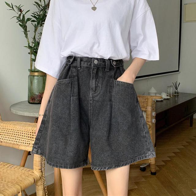 【送料無料】 美脚見えパンツ♡ カジュアル カラー デニム ショートパンツ ズボン ワイドレッグ ボトム