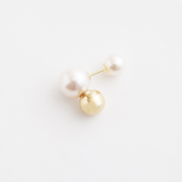 simmon/Brown Bunny Tale Pierce_Pearl+Gold(片耳)