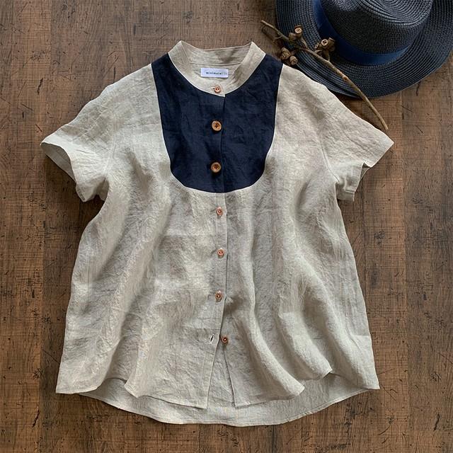 linen washer shirt short(Belgium linen)