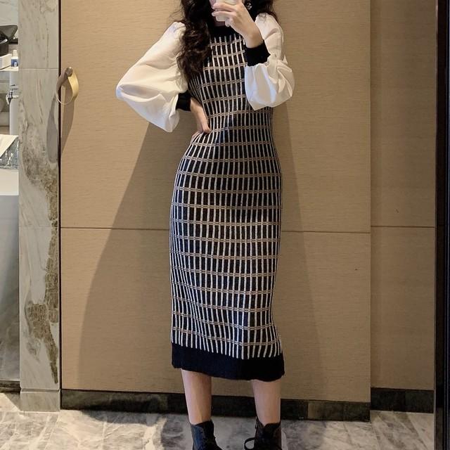 【ワンピース】売れ筋 ファッション 韓国系 パフスリーブ チェック柄 切り替え ストレート ロングワンピース36187170