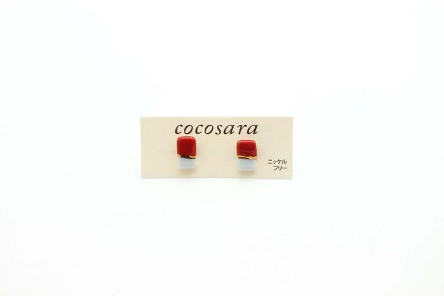 有田焼ピアス 2トーン 赤×白 2
