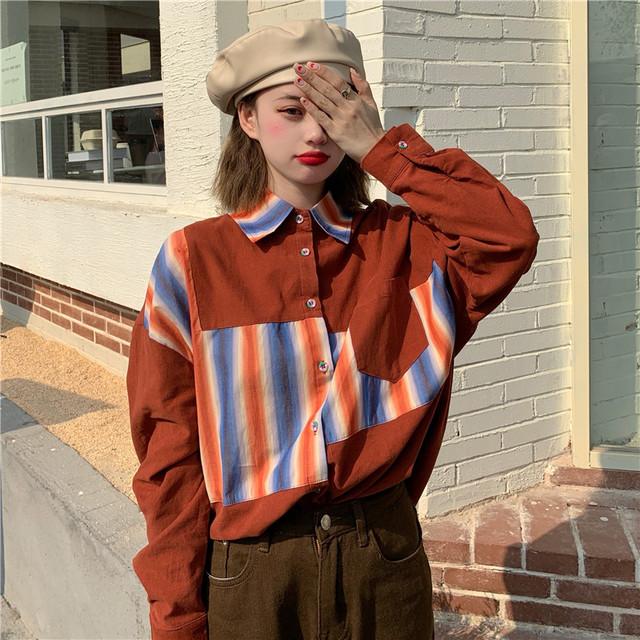 【トップス】人気爆発韓国系POLOネック切り替えストライプ柄シングルブレストシャツ41443301
