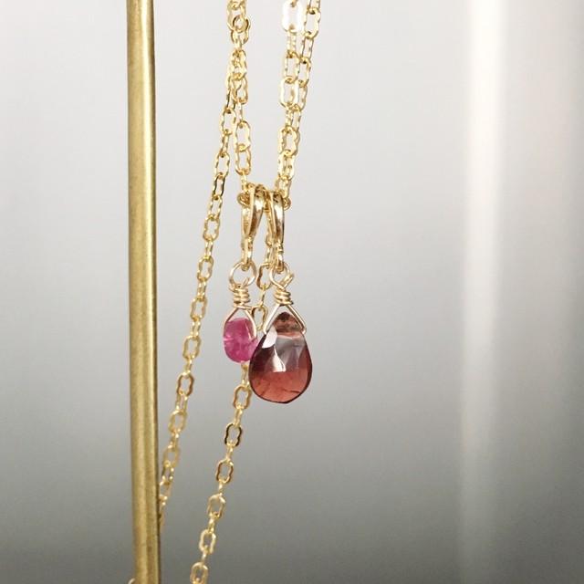 【1月&7月の誕生石】宝石質ルビー&ガーネットネックレス