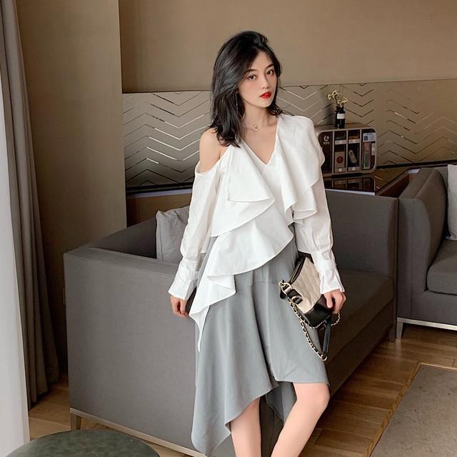 【セットアップ】【単品注文】切り替えファッションカジュアルシャツ+不規則切り替えハイウエストスカート2点セットアップ22264235