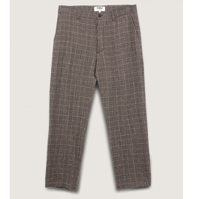YMC LONDON HAND ME DOWN WOOL CHECK TROUSERS BROWN