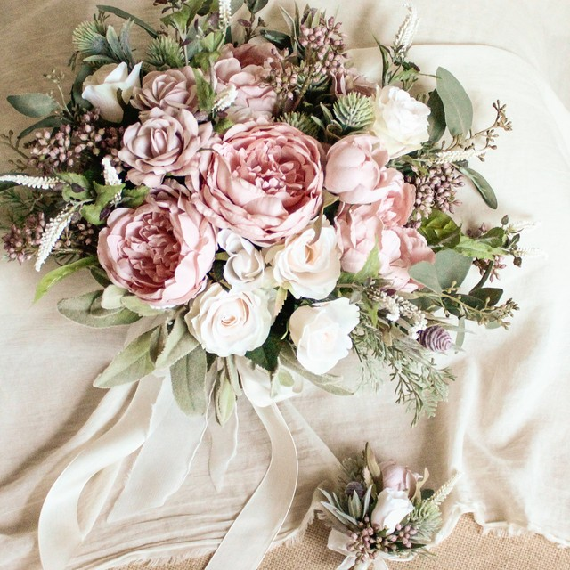 Peony&Rose Bouquet&Boutonniere