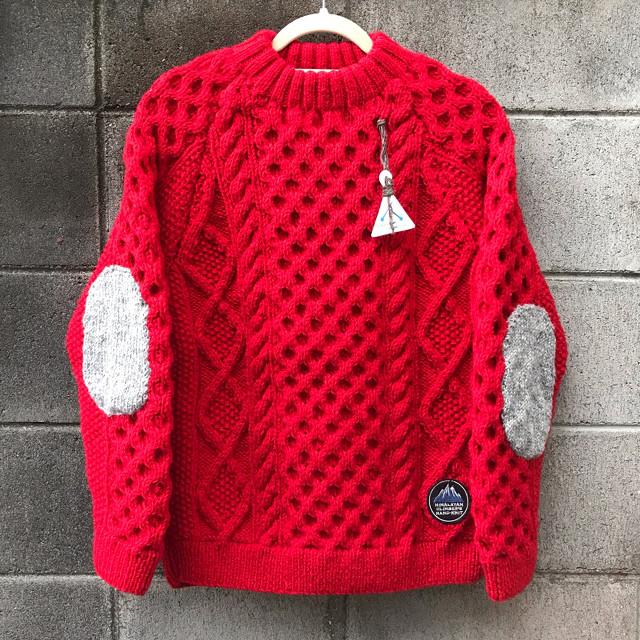 【HCK】 手編みクルーニットM レッド