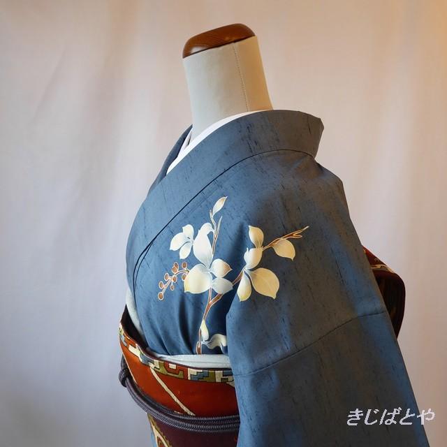 白山紬 ブルーに白花の付け下げ 袷