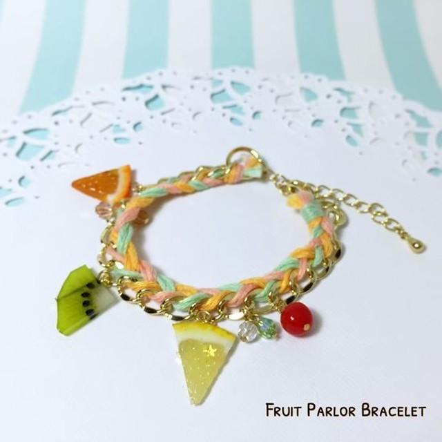 フルーツパーラーブレスレット (橙×桃×緑)