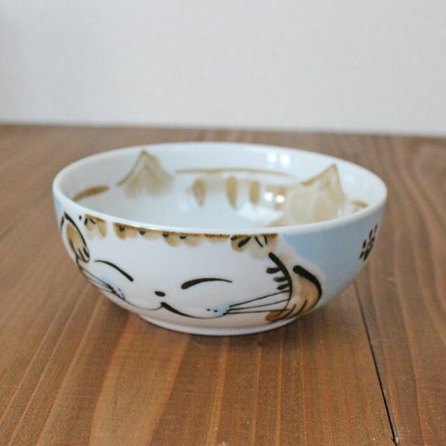 【福々】福猫パック小鉢 M(ブルー)【お茶碗 猫柄 肉球付 猫雑貨】