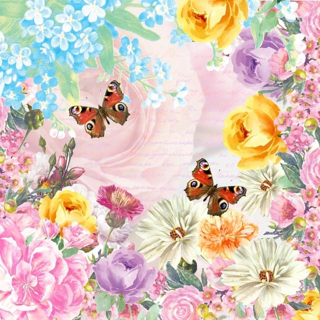 【Paper+Design】バラ売り2枚 ランチサイズ ペーパーナプキン BUTTERFLY CHARM ピンク