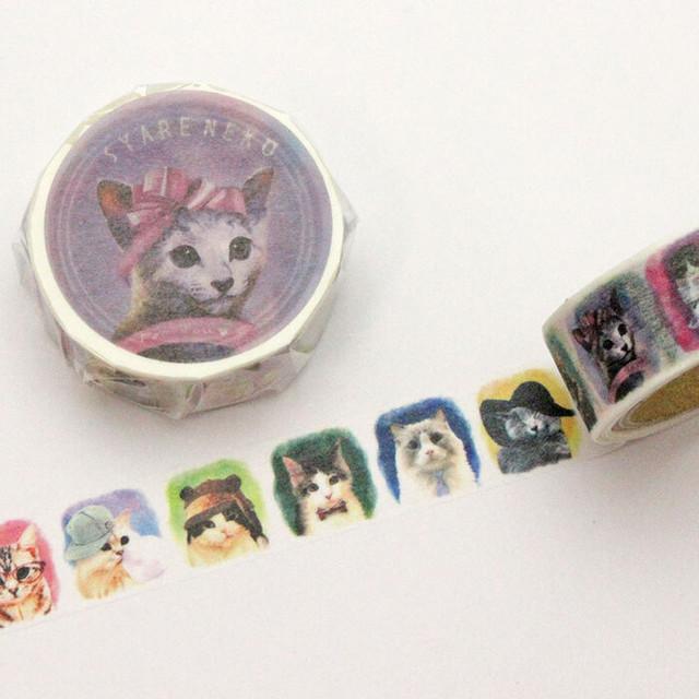 【とことこサーカス】マスキングテープ「SYARENEKO2-」【ST-MT-11】