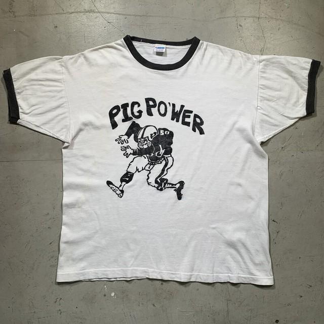 70's~80's Champion チャンピオン リンガーTee PIG POWER バータグ後期 白黒 モノトーン ホワイト ブラック X-LARGE USA製 希少 ヴィンテージ BA-1454 RM1873H
