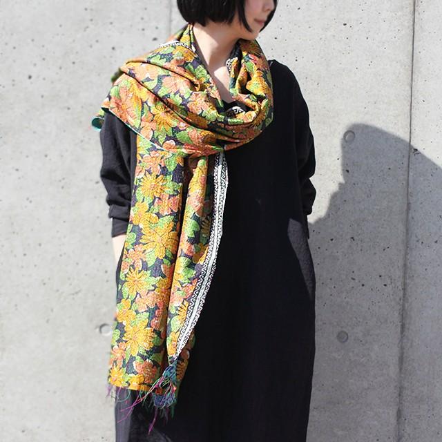 大判サイズ*刺し子カンタシルクストール【花柄×ターコイズ】