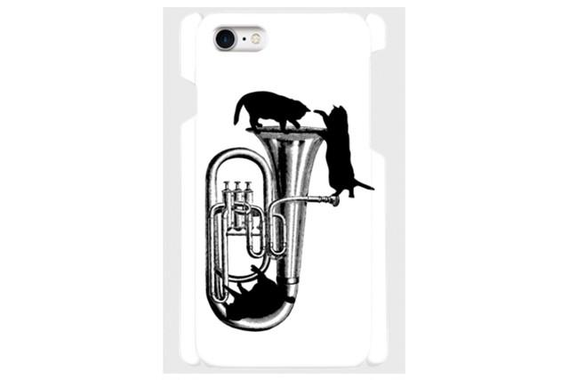 (iPhone用)チューバと黒猫のスマホケース