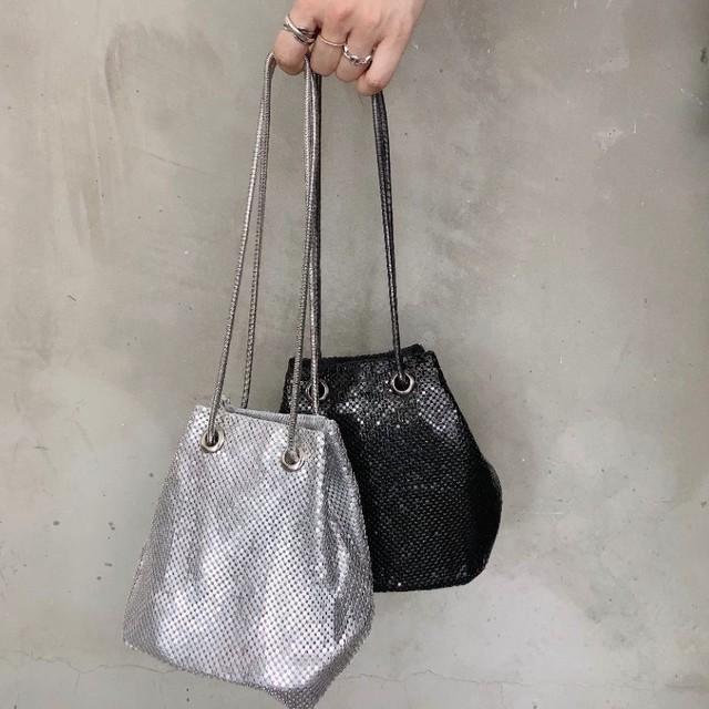◆即納/ご予約◆グリッター シルバーチェーン コンパクト ポーチ きらきら ミニ巾着 バッグ  2S-119