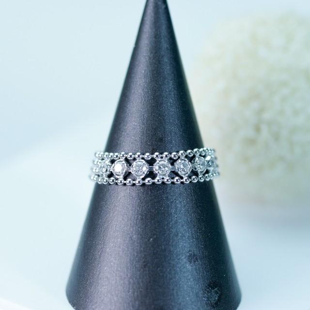 ブラックダイヤモンド フラワーデザインリング K18ホワイトゴールド