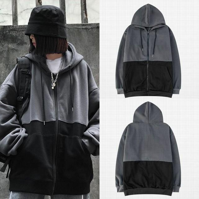 ユニセックス バイカラー ジップアップ パーカー 韓国ファッショ 裏起毛 ストリート 無地 秋 冬 メンズ レディース / Contrast color plus velvet hooded sweater (DTC-606329979783)
