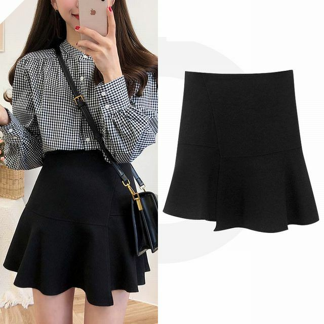 レディース Aライン ハイウエスト ミニスカート 春コーデ / Women's spring and autumn 2019 new short high waist solid color retro skirt (DCT-589701561017)