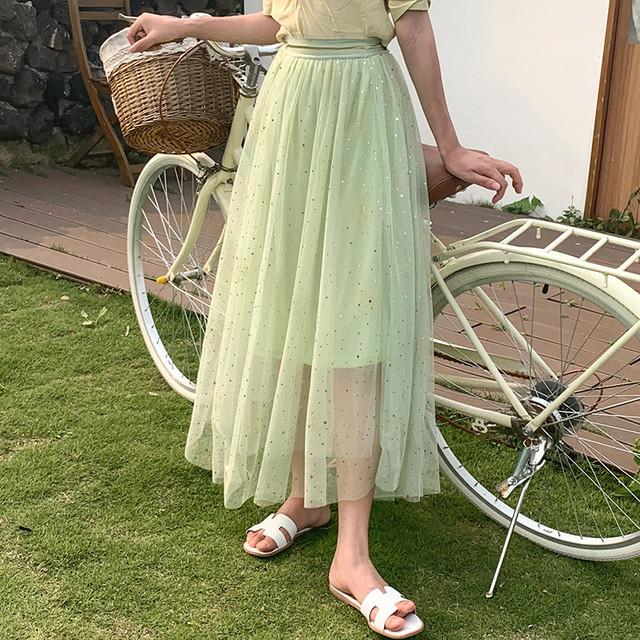 星空のスカート 星ラメ 夜空 シャーベットカラー チュール - Mira