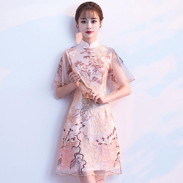 チャイナドレス ワンピース ドレス 改良型チャイナドレス チャイナ風服 スタンドネック 半袖 膝丈 エレガント 着痩せ 上品 大きいサイズ S M L LL 3L Aライン レ刺繍