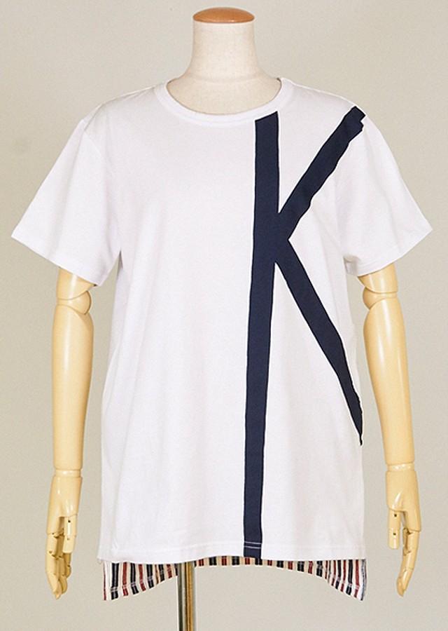 kiida 前身頃にKの文字の様に生地を叩きつけたTシャツ KUD27-T509 WH/MM