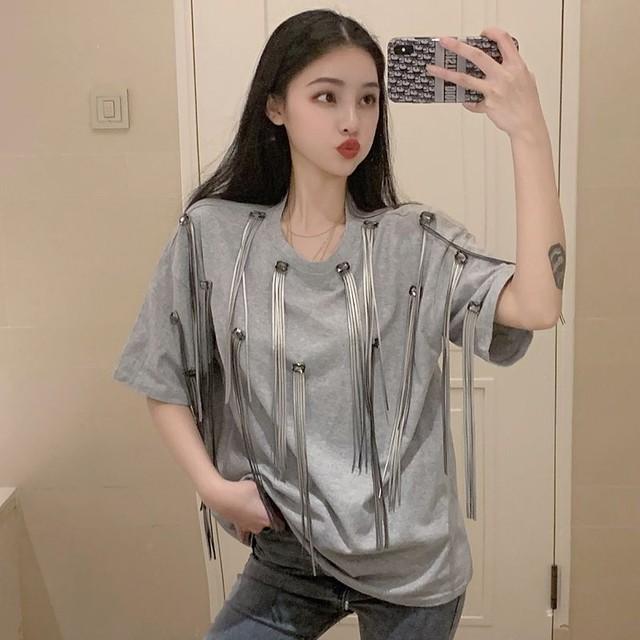 【tops】新作ラウンドネックプルオーバーフリンジゆったりファッション個性半袖Tシャツ