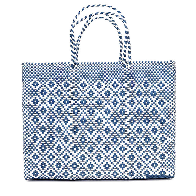 MERCADO BAG ROMBO METALIC - Metalic Blue x White(L)