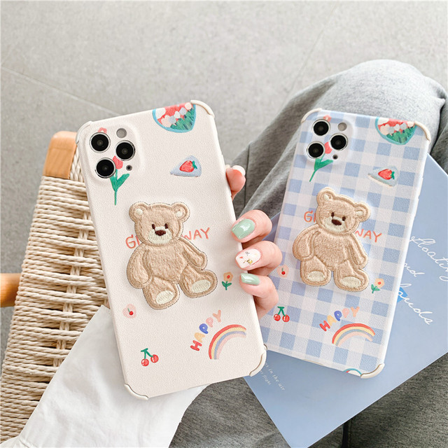 Teddy bear leather embroidery iphone case